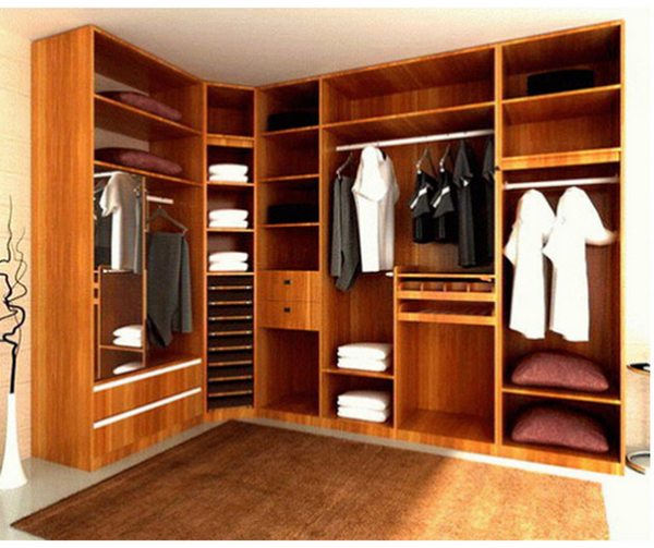 利用一面空墙存放,不完全封闭式衣帽间,具有空气流通好,宽敞等优点.